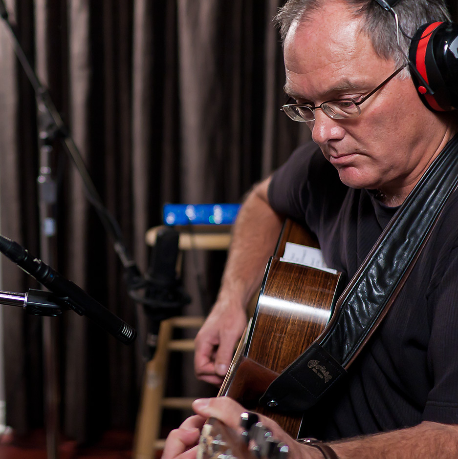 Larry Murante recording acoustic guitars at DBAR Productions