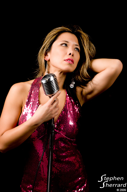 Actress/Model Jenny Lin rocks my vintage Shure Microphone