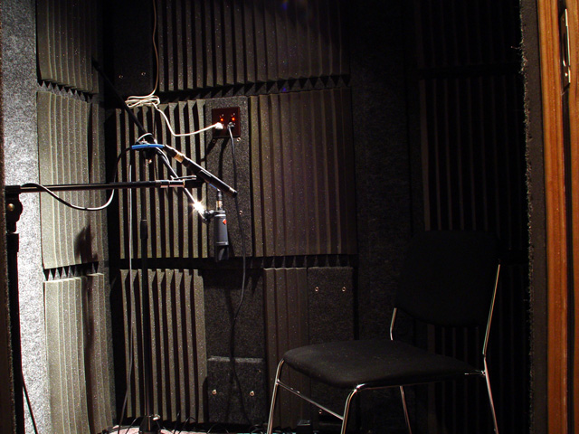Inside the booth in the West Seattle Home Studio