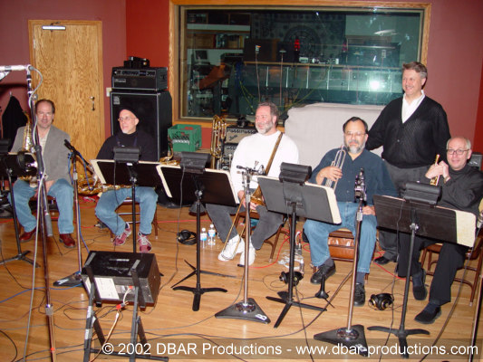 Greg's 5 piece horn section with co-producer Paul McVicar