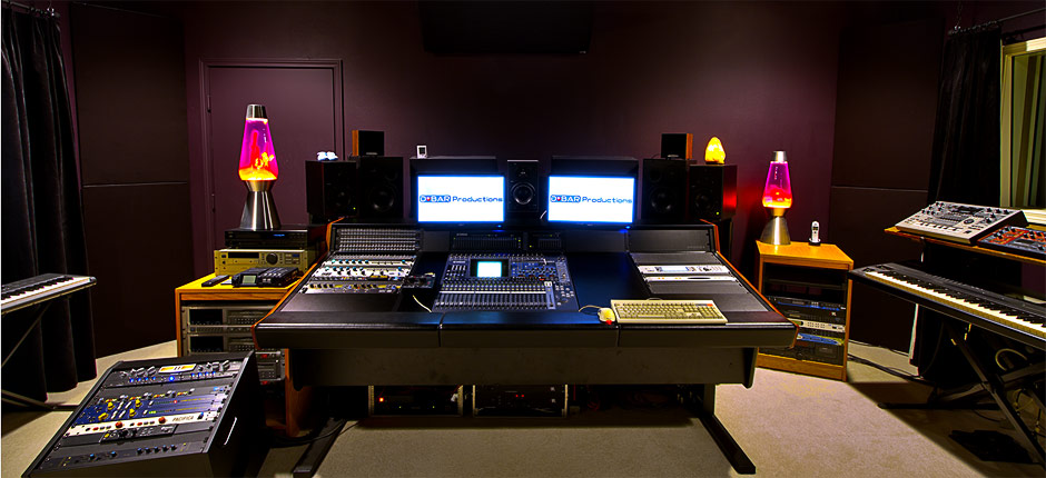 The control room in the Recording Studio at DBAR Productions