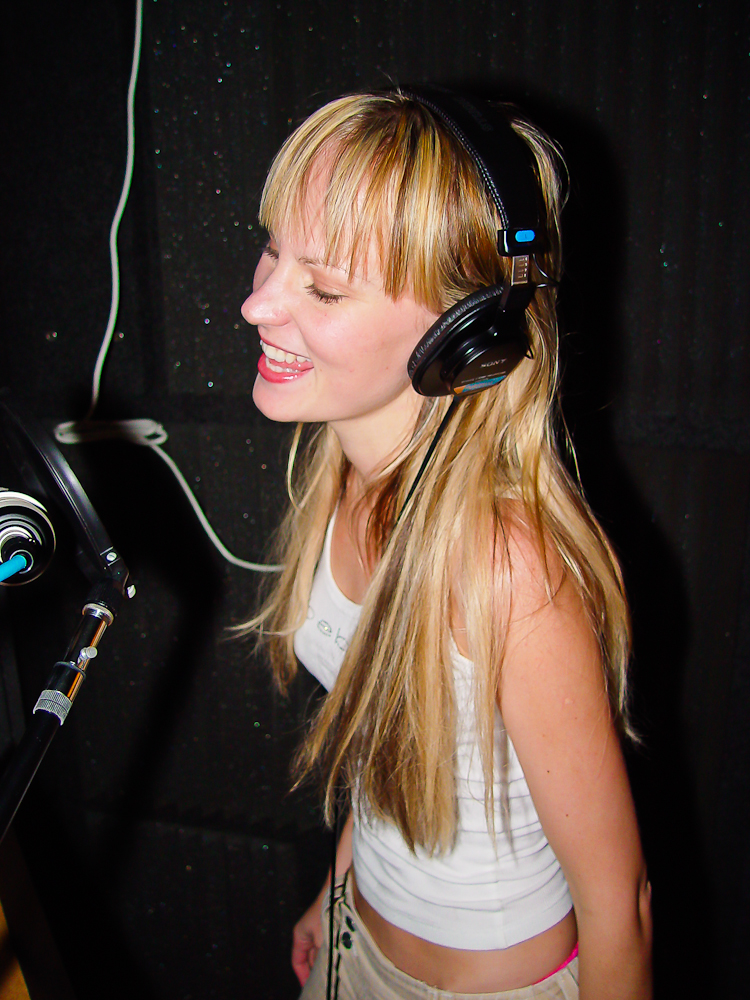 Recording vocals in the old DBAR Productions vocal booth