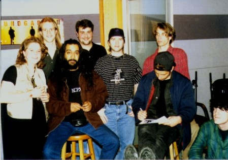 A younger me, and some interns, with Soundgarden at Triad Studios