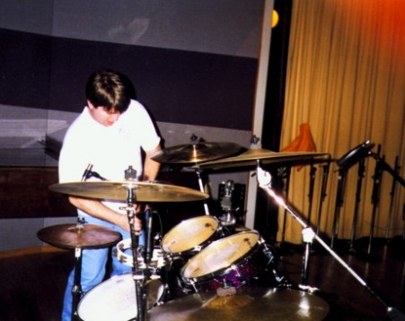 Me setting up to record drums in Studio A at Triad Studios