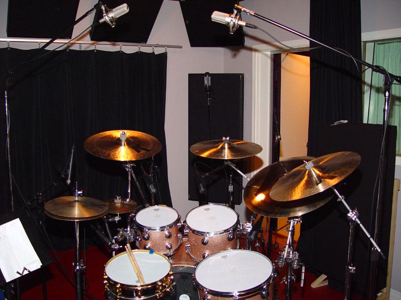Ben Smith's drum kit all set to record
