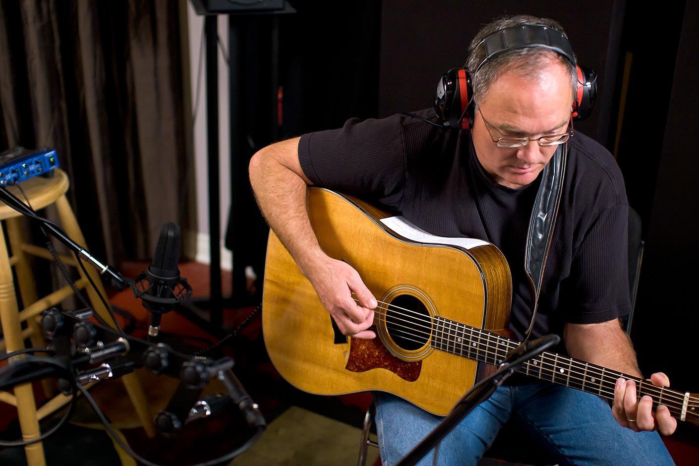 Larry Murante recording acoustic guitar