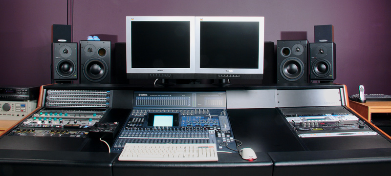 The console with older computer monitors