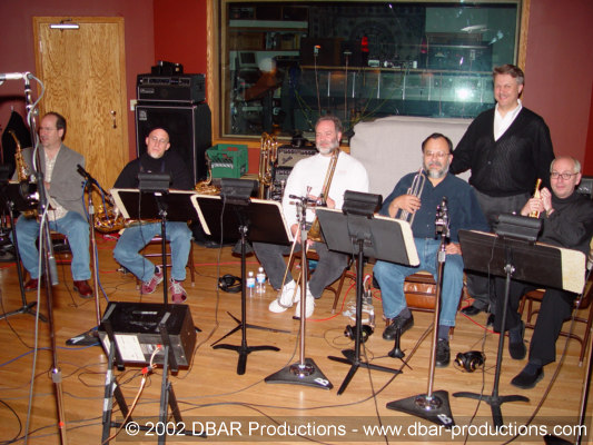 Greg's 5 piece horn section with co-producer Paul McVicar