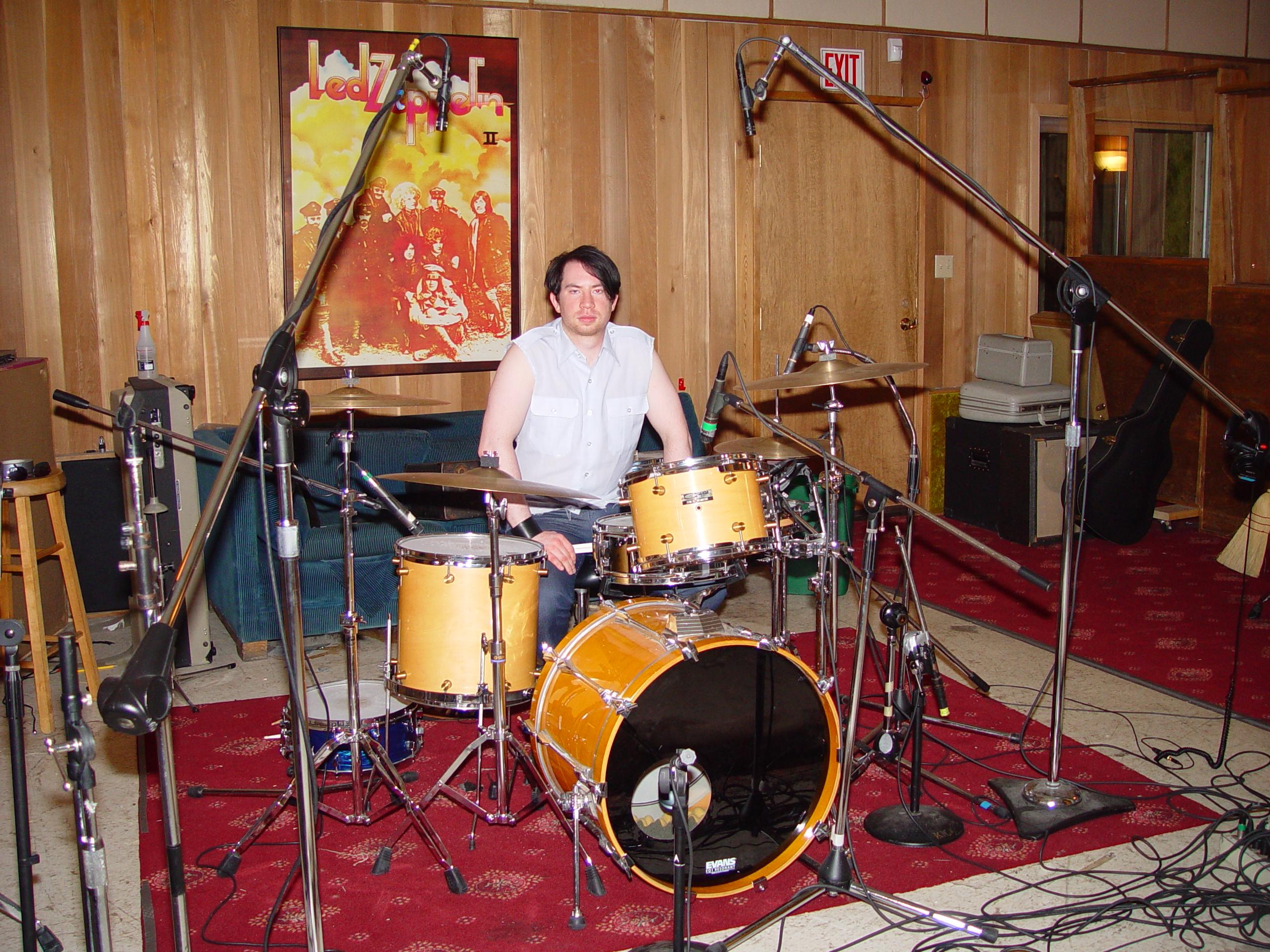 The drum setup at Jupiter Studios