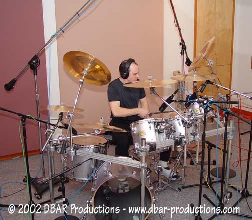 Queensryche Drummer Scott Rockenfield working hard at Jupiter Studios