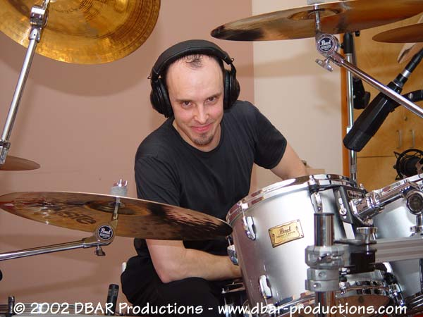 Queensryche Drummer Scott Rockenfield working hard at Jupiter Studios